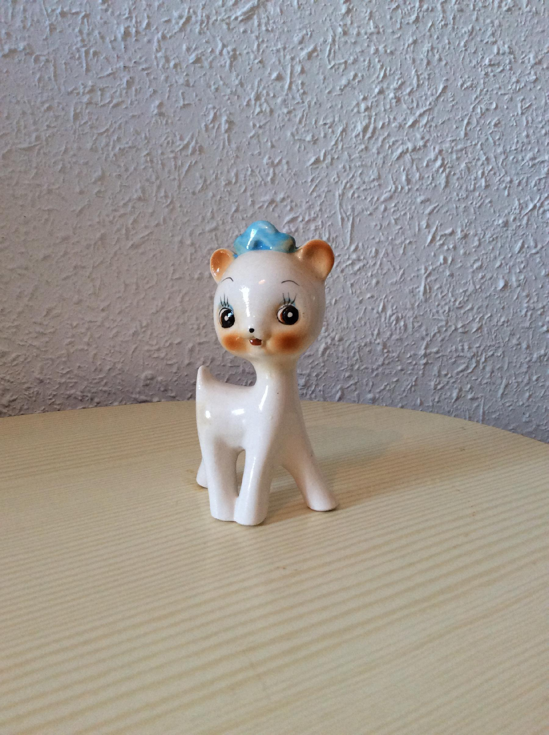 Chat vintage porcelaine 1970